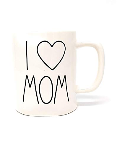 Rae Dunn by Magenta, I'heart' MOM Coffee Mug, beige, black LL