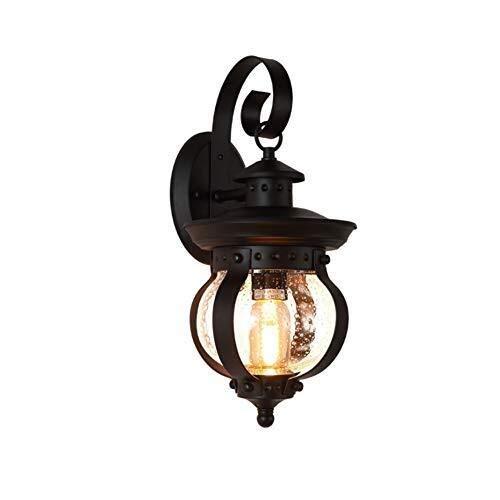 BYDXZ antieke Europese wandlamp buiten, vintage, creatieve buiten-glazen zaklamp, waterdicht, metalen kooi, IP55, tuin, terras, wandlamp, E27