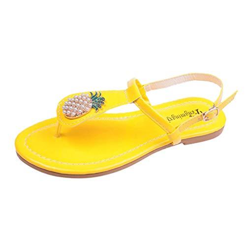 Sandalen Schuhe Frauen Mode Casual Ananas verschönert Toe Post Flat (40,Gelb)