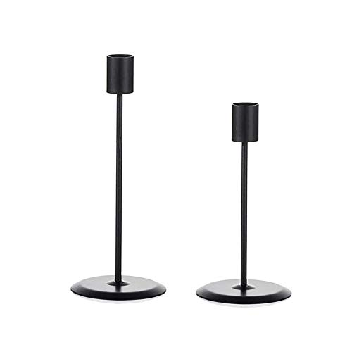 GDORUN Candle Holders,Candlestick Holders Metal Tapered Candle Holder Decorations Ornaments for Living Room,Wedding Banquet,wedding,birthdays,Candlelight dinners(Black-Pillar)