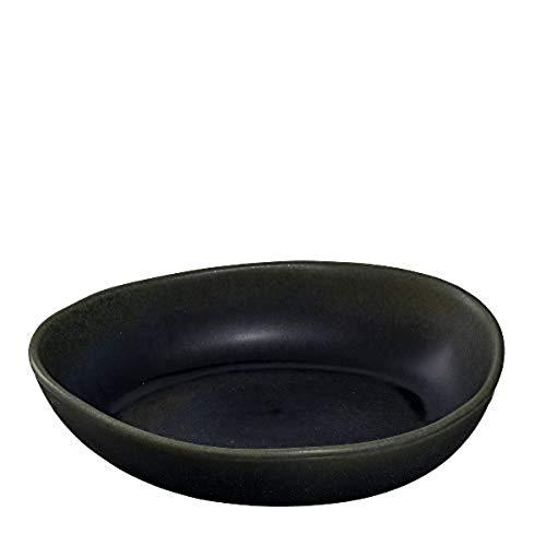 Leonardo Noli Schale aus Steingut, 1 Stück, spülmaschinenfeste Schüssel,mikrowellengeeignete Keramik-Schale, matt schwarz, oval, 850 ml, 054640