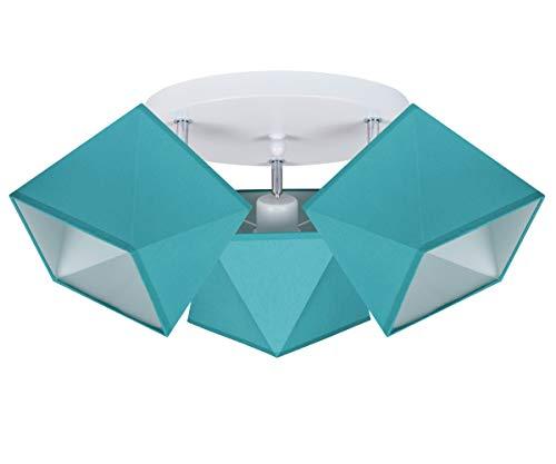 Deckenlampe Deckenleuchte HausLeuchten TUTUTU-PR3030WE Leuchte Lampe 3 Lampenschirme Wohnzimmerlampe Schlafzimmerlampe Küche Kinderzimmer Lampe LED (Türkis)