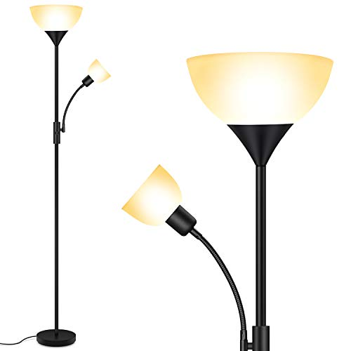 Floor Lamp, Standing Lamp, 9W LED Torchiere Floor Lamp with 4W Adjustable Reading Lamp, 3000K Energy-Saving LED Bulbs, 3 Way Switch, 50,000hrs Lifespan, Floor Lamps for Bedroom, Living Room, Office
