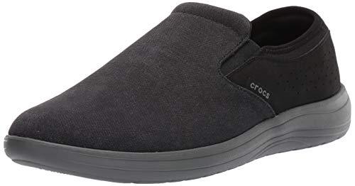 Crocs Men's Reviva Canvas Slip On Loafer, Black/Slate Grey, 9 M US