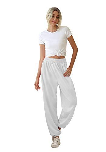 Loalirando Pantaloni Donna Cotone Pantaloni Sportivi Donna Estivi Pantaloni Ragazza Tinta Unita Casual