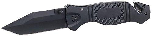 Semptec Urban Survival Technology Outdoor Messer: Scharfes Edelstahl-Klappmesser, Alu-Griff, Gurtschneider & Glasbrecher (Messer mit Gurtschneider)