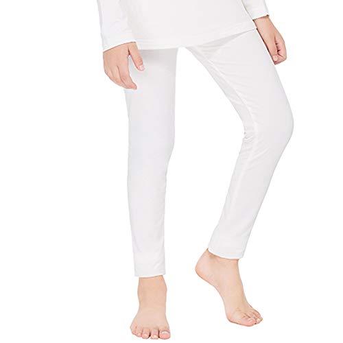 Subuteay Mädchen Thermo-Unterhose, Fleece-gefüttert, Lange Unterhose, besonders weich - Weiß - XS