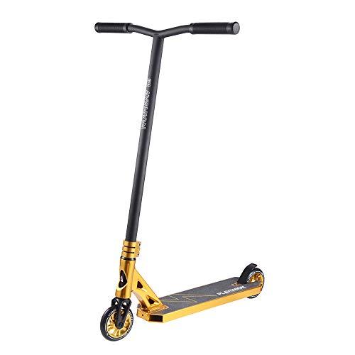 Playshion Pro Stunt Trick - Patinete para niños y adultos principiantes y profesionales, ruedas de núcleo de aluminio de 110mm, ajustable a dos alturas (80cm y 91cm), 91,44 cm / Dorado