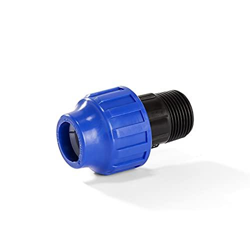 H2O-Flex PP-Fitting, Klemmverbinder - 20er PE Adapter mit 1/2' Aussengewinde, 20 mm, DVGW