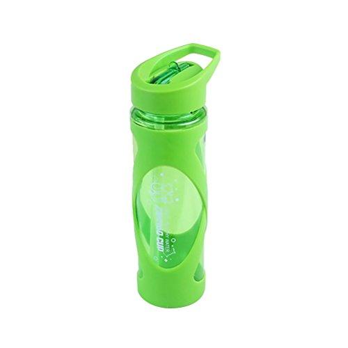 bestonzon 580ml Tritan Flasche mit Stroh Kunststoff Wasser Flasche Lecksicher Sport Trinken Container (grün)