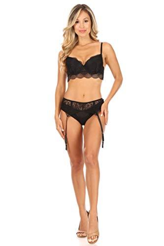French Affair Women's Tout En Longline Push-Up Bra and Panty Set with Garter Belt, Black, 36B/M