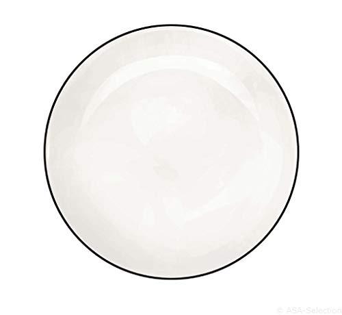ASA Ligne Noir Assiette à Dessert Porcelaine Blanc 21 cm