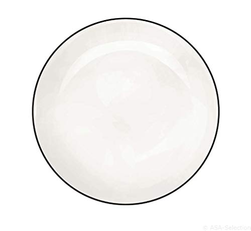 ASA 1905113 à table ligne noir Dessertteller, Weiß, 21 cm