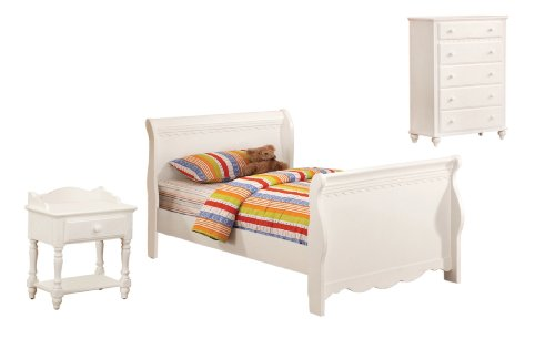Hot Sale Furniture of America Bethany Anne 3-Piece Sleigh Bed Set with Nightstand and Chest, Twin, White Finish