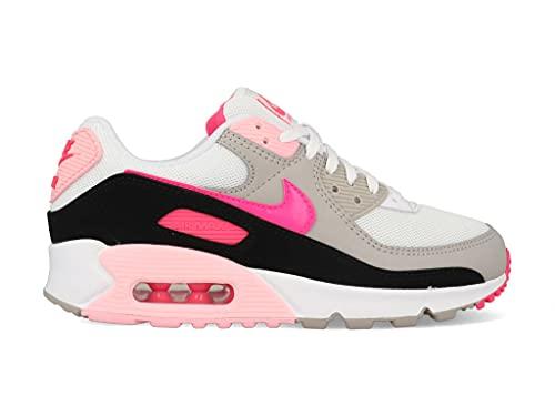 Nike Air MAX 90, Zapatillas Deportivas Mujer, White Hyper Pink Black College Grey, 44 EU
