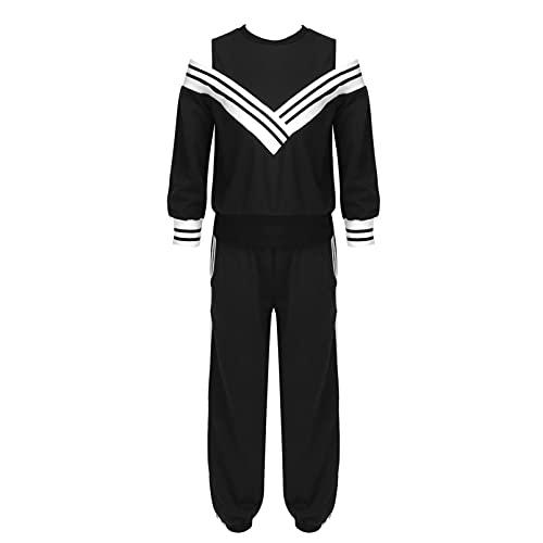 inhzoy Conjunto de Chándal de 2 Piezas de Verano para Niñas Conjunto Deportivo con Pantalones de Cintura Elástica para Gimnasia Correr Negro A 13-14 años