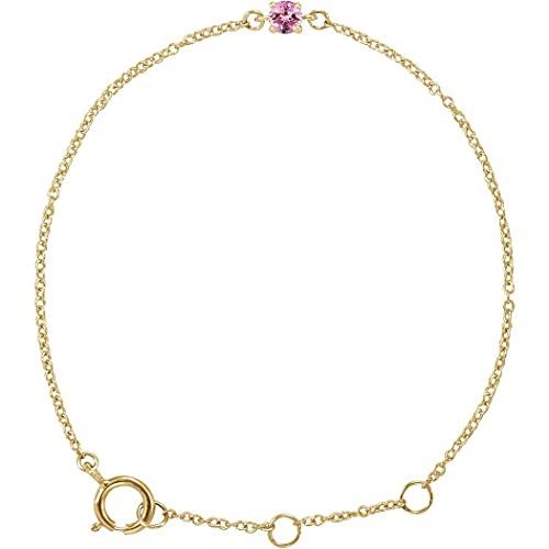 Pulsera de oro amarillo de 14 quilates con turmalina rosa de imitación de 4 1/2 5 1/2 pulgadas pulida, joyería de regalo para mujeres