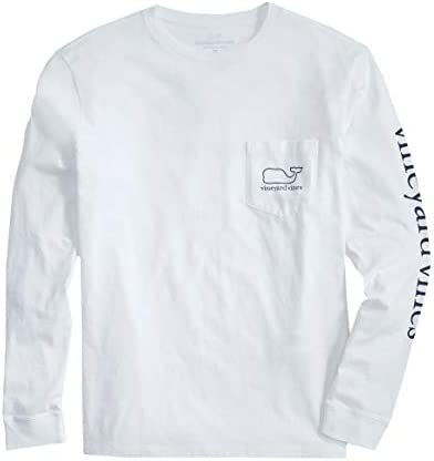 vineyard vines Men s Long Sleeve Whale Pocket T Shirt White Cap Large product image