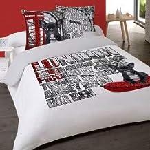 LINGE USINE Housse de Couette London Piccadilly Chien 240 x 220 +2 Taies Coton