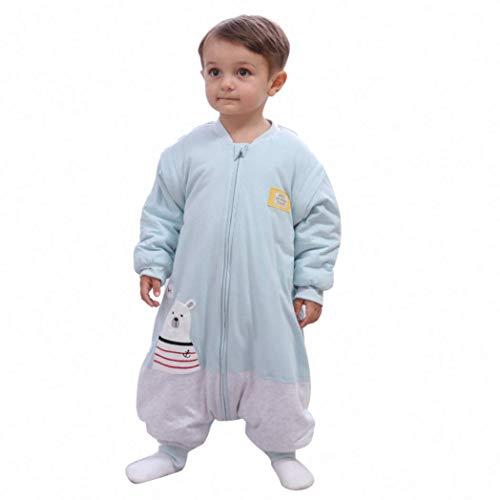 Schlafsäcke baby Winter Junge Mädchen Neugeborene overall Strampler - 2.5TOG mit Füßen kinder Ganzjährig Schlafanzug (Körpergröße:110-130cm, Blau Grau Eisbär)