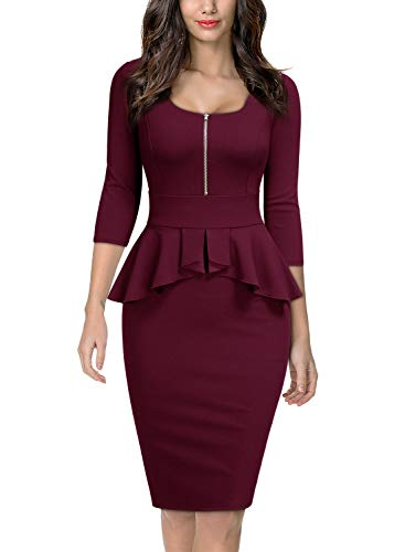 Miusol Women's Retro Square Neck Ruffle Style Slim Business Pencil Dress,XX-Large,Burgundy