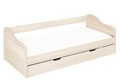 BioKinder 23890 Nico economy set functionele bedbank met matrasdoos van massief hout grenen wit 90 x 200 cm