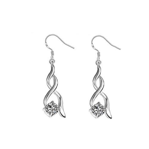 Heall Mujer Pendientes Retro del Rhinestone Pendientes de Moda Femenina Twisted Gota para el oído de la Muchacha de la joyería de Plata joyería de fantasía