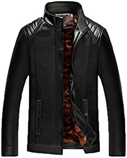 PU Leather Material Winter Coat Men's Jacket Simple Fashion All Matched Plus velvet Thickened Warm Plus Size Close Comfy S...