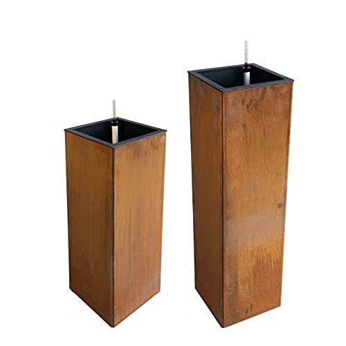 RAKA BLU Macetero de acero Corten certificado con sistema de riego. Metal, rectangular en forma de...