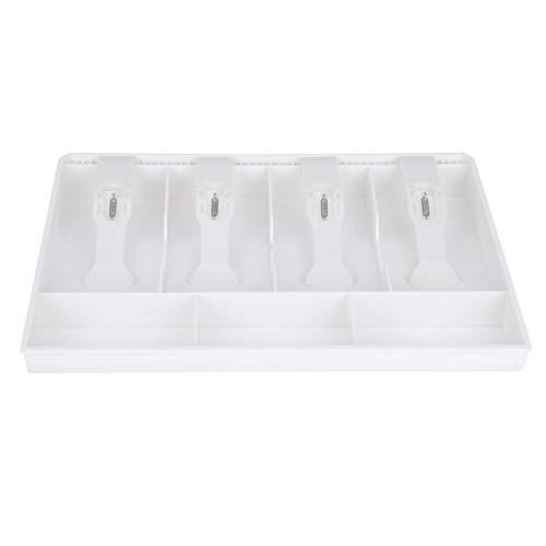 Bandeja de inserción de caja registradora, caja de efectivo, conveniente inserción de cajón de caja registradora, plástico de calidad, tienda duradera, supermercado para(white)