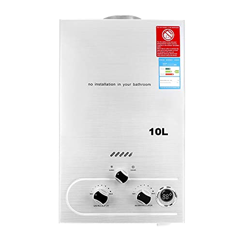 Scaldabagno a Gas 10L,Scaldabagno a Gas 20KW,Scaldabagno a Gas GPL Propano Butano Senza Serbatoio Per La Casa e All'aperto,Bianco