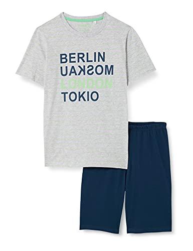 Sanetta Jungen Schlafanzug kurz grau Pyjamaset, hellgrau Melange, 140