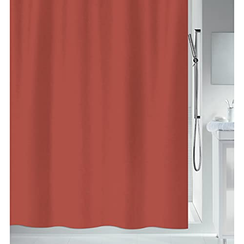 "Spirella Anti-Schimmel Duschvorhang - Anti-Bakteriell, waschbar, wasserdicht - Polyester, ""Primo "" 180x200cm Terracotta Rot"