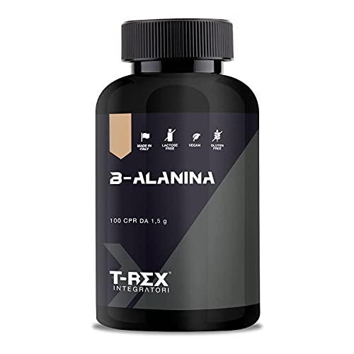 Beta ALANINA 1000mg. 100 compresse da 1500 mg con Vitamine B1-B6-E. Contrasta la formazione di acido lattico. Migliora resistenza e tempi di recupero T-REX INTEGRATORI