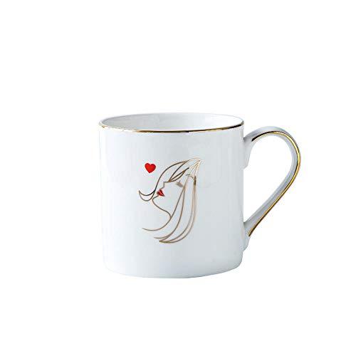 MIC-moonjack Tazza Bianca Tazza di Ceramica Coppia Tazza di caffè con Cucchiaio 480 Ml Disegno Tazza Miglior Regalo per @Ms_Un