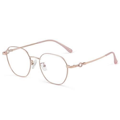 Gafas De Lectura para Mujer HD Lector De Computadora Cómodo Anti-BLU-Ray Marco Rectangular Irregular Lupa Ultraligera,Rosado,+2.00
