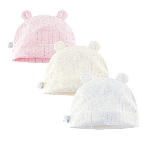 Juzzae Paquete de 3 gorros de algodón para niños y niñas, orejas de oso recién nacido, gorros de algodón