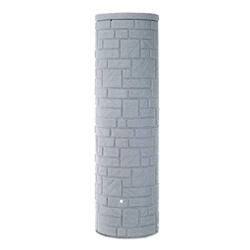 Regentonne grau Regenwassertank Arcado 460 Liter Farbe granit aus UV- und witterungsbeständigem Material. Regenfass bzw. Regenwassertonne mit kindersicherem Deckel und hochwertigen Messinganschlüssen
