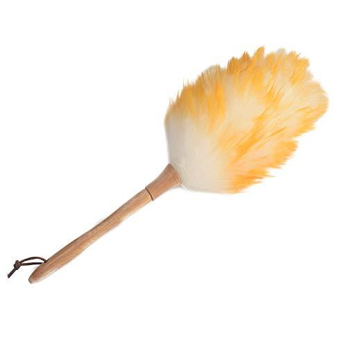 XHXseller Plumero con mango de madera, plumero de mano para limpieza del hogar, lana de cordero, para colgar muebles de casa, oficina y coche, 45 cm