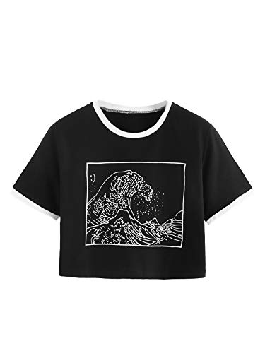 Romwe Women's Short Sleeve Top The Great Wave Off Kanagawa Graphic Print Crop Ringer Tee Shirt Black S
