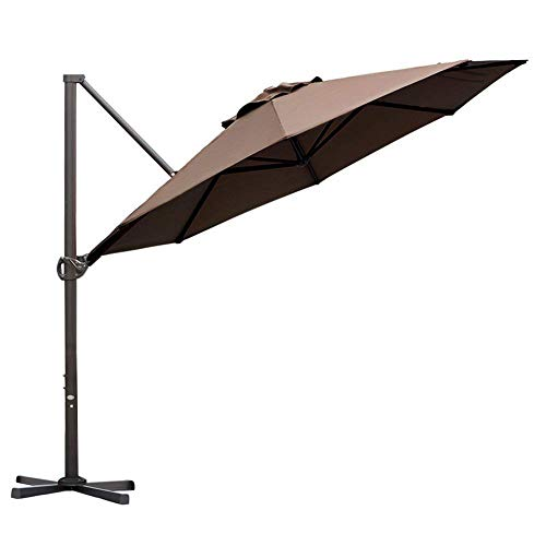 Abba Patio 11ft Patio Offset Hanging Umbrella Outdoor Cantilever Sturdy Umbrella with Crank & Cross Base & Easy Tilt, for Garden, Backyard, Pool and Deck, Cocoa