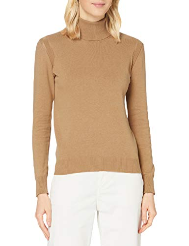 Mexx Womens Roll Neck Cashmere Blend Pullover Sweater, Indian Tan, XL