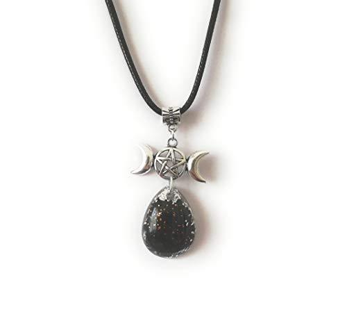 Orgonita Amuleto Colgante Triple Diosa Wicca Luna Pentáculo Turmalina Negra Protección Orgón Collar Unisex