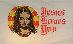 Fahne Flaggen JESUS LOVES YOU 150x90cm