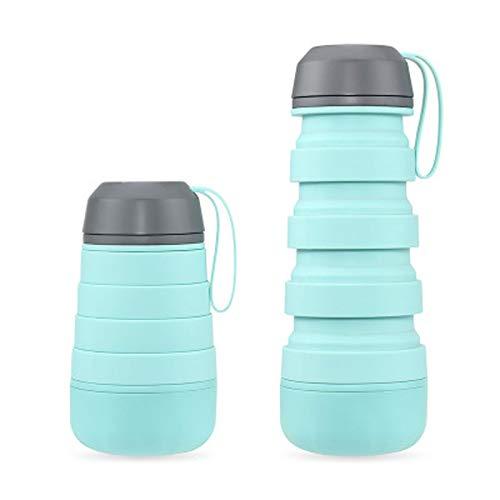 Botella De Agua Plegable-Botella De Agua Plegable De Silicona Libre De BPA para Viajes,Botella De Agua Portátil Alimenticio a Prueba De Fugas para Viajes Senderismo,Ciclismo,Acampada