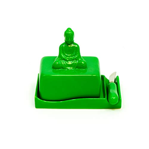 Buddha Ceramic Butter Dish Tray with Lid and Knife by Trademark Innovations (Green)
