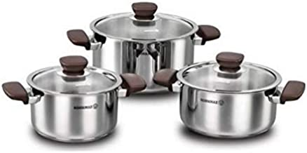 Korkmaz Kappa Stainless Steel Cookware Set of 6 Pieces, Silver, A1681