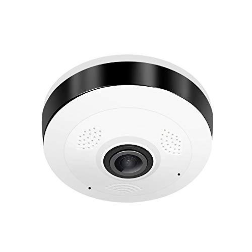 WARMTOWER Seguridad para el hogar 960P HD 360 ° Cámara inalámbrica WiFi panorámica Cámara IP con Ojo de pez Cámara Nocturna Visión bidireccional Hablar con Soporte Tarjeta TF para Android iOS (1 PC)