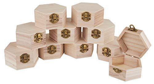 VBS Holzkiste Hexagon Ø 9,6 cm 10 Stück mit Deckel und Metall-Verschluss, Aufbewahrungs-Box aus Kiefernholz