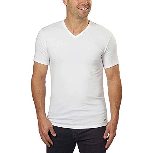 Calvin Klein Cotton Stretch V-Neck, Classic Fit T-Shirt, Men s (3-pack) (White or Black) (White, Large)